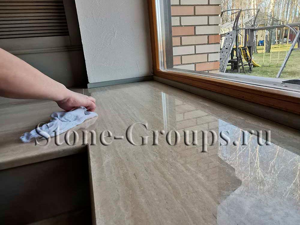 полировка мраморного подоконника без пыли с водой