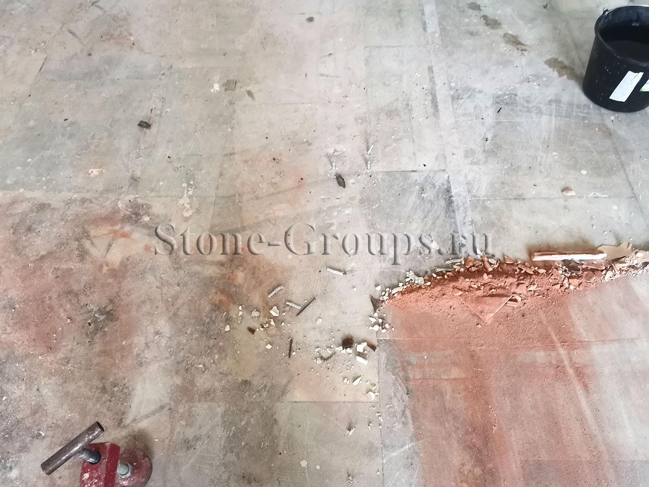 Полировка старого пола из мрамора